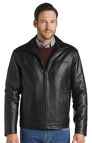 Men's FLYOUT_CATEGORY, Reserve Collection Traditional Fit Leather Jacket - Big & Tall - Jos A Bank