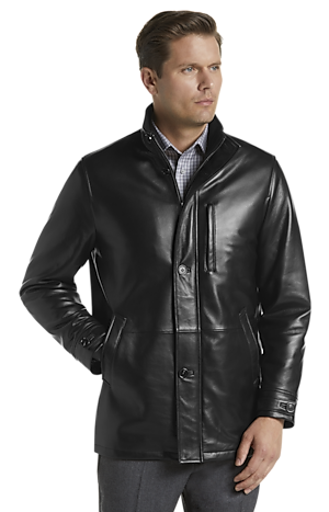 Men's Clearance, Reserve Collection Traditional Fit 3/4 Walker Length Leather Jacket CLEARANCE - Jos A Bank