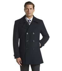 Men's Outerwear, Reserve Collection Tailored Fit Peacoat - Jos A Bank