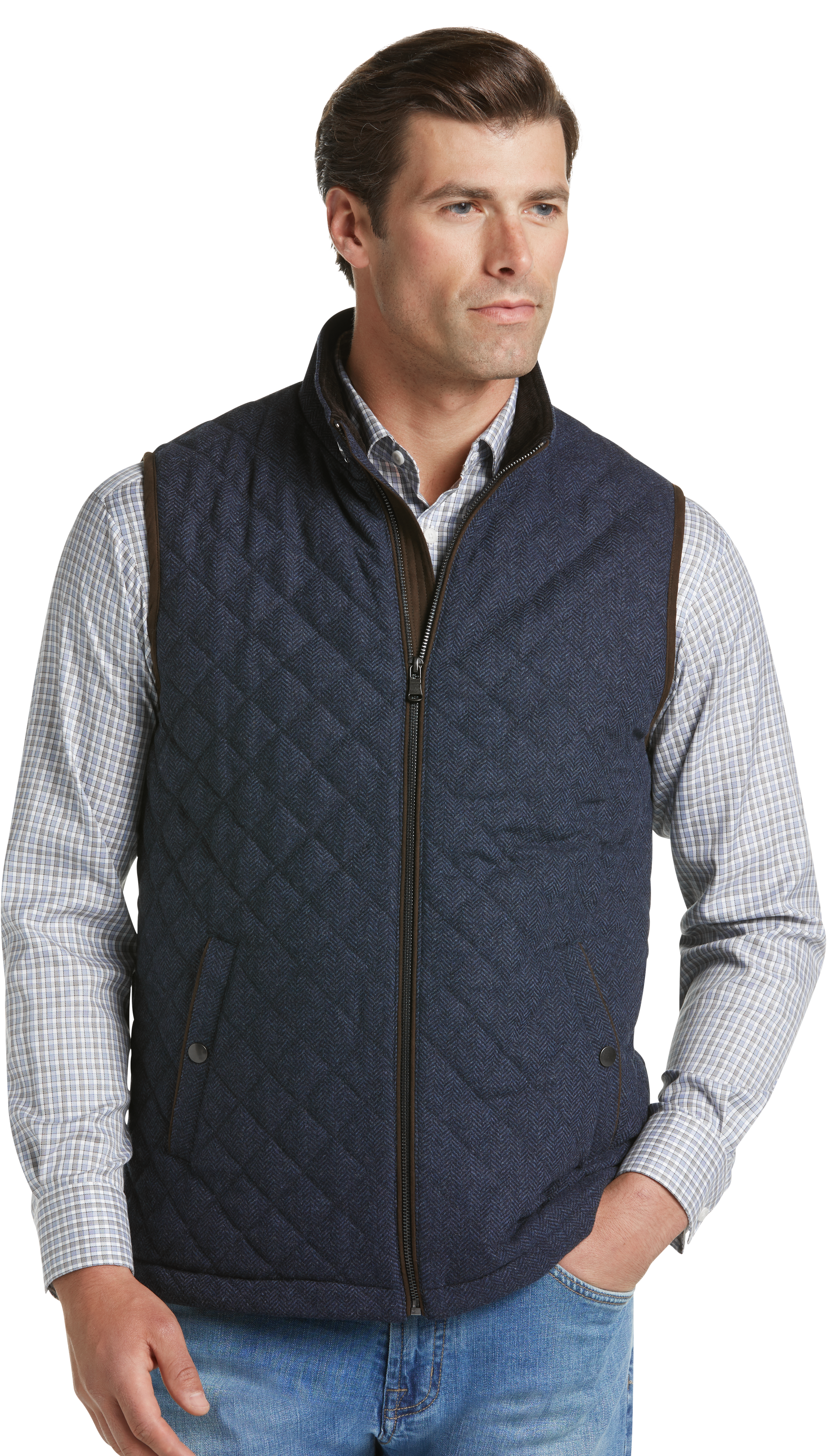 Reserve Collection Traditional Fit Herringbone Quilted Vest (Navy)