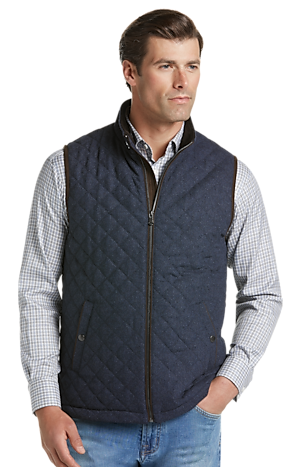 Men's Outerwear, Reserve Collection Traditional Fit Herringbone Quilted Vest - Jos A Bank