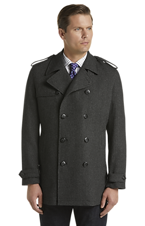 Men's Clearance, Reserve Traditional Fit Double Breasted Herringbone Wool Blend Coat CLEARANCE - Jos A Bank