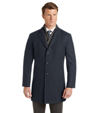 Jos. A. Bank Mens Travel Tech Tailored Fit Herringbone Topcoat