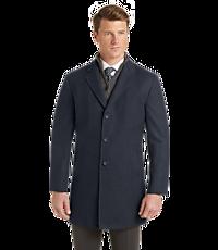 Jos. A. Bank Mens Travel Tech Tailored Fit Herringbone Topcoat (Blue)