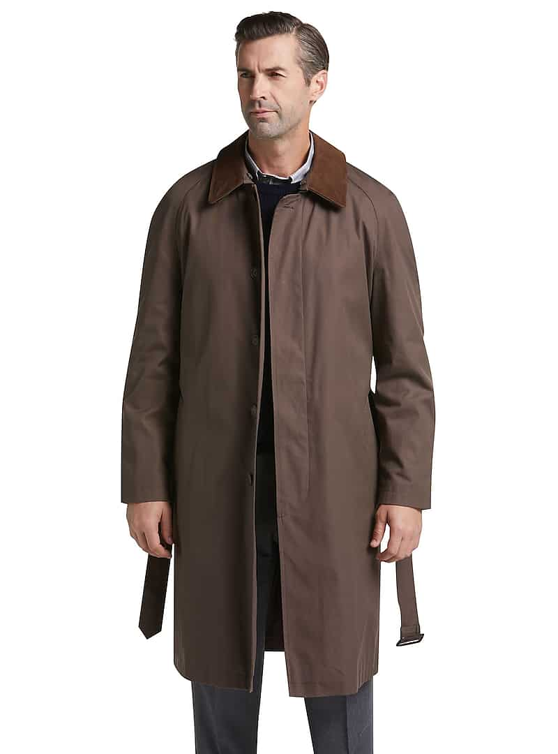 Executive Collection Traditional Fit Brown Full Length Coat