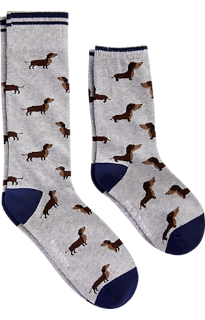 Men's Gifts for Dad, Jos. A. Bank Grey Dachshund Father & Son Dress Socks, 2 Pair - Jos A Bank