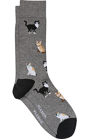 Men's Accessories, Jos. A. Bank Curious Cats Dress Socks, 1-Pair - Jos A Bank