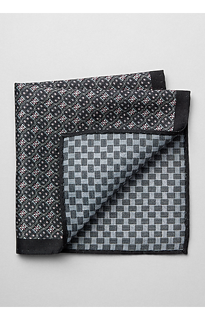 Grey /& white $60 Jos A Bank 2 Silk pocket square Black /& white